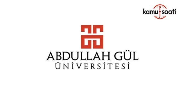 Abdullah Gül Üniversitesi Lisansüstü Eğitim-Öğretim ve Sınav Yönetmeliği - 7 Mayıs 2018 Pazartesi