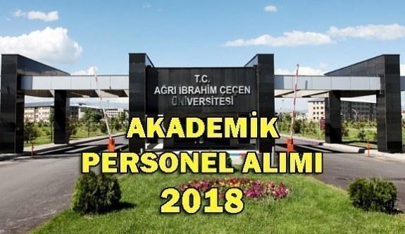 Ağrı İbrahim Çeçen Üniversitesi Akademik Personel Alım İlanı 2018