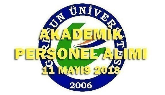 Giresun Üniversitesi 14 Akademik Personel Alım İlanı - 11 Mayıs 2018