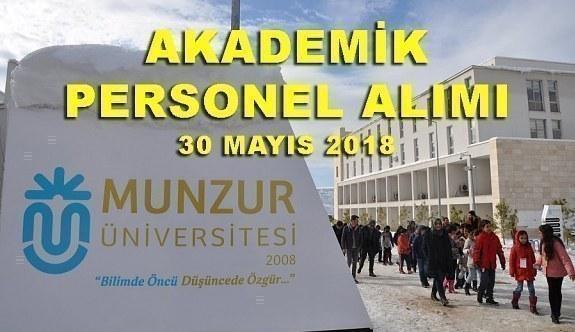 Munzur Üniversitesi 14 Akademik Personel Alım İlanı - 30 Mayıs 2018