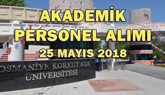 Osmaniye Korkut Ata Üniversitesi Akademik Personel Alacak - 25 Mayıs 2018
