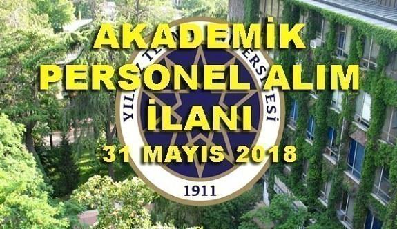Yıldız Teknik Üniversitesi 28 Akademik Personel Alımı - 31 Mayıs 2018