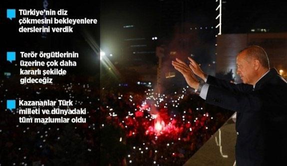 Cumhurbaşkanı Erdoğan: Bu seçimin galibi demokrasidir, milli iradedir