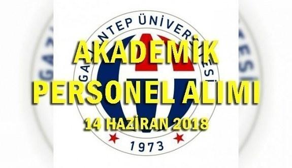 Gaziantep Üniversitesi 27 Akademik Personel Alımı - 14 Haziran 2018