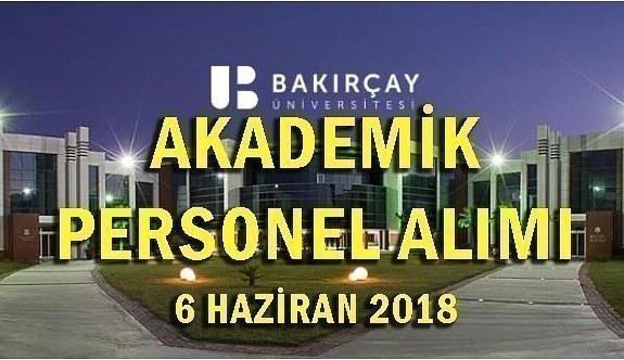 İzmir Bakırçay Üniversitesi akademik personel alım ilanı - 6 Haziran 2018