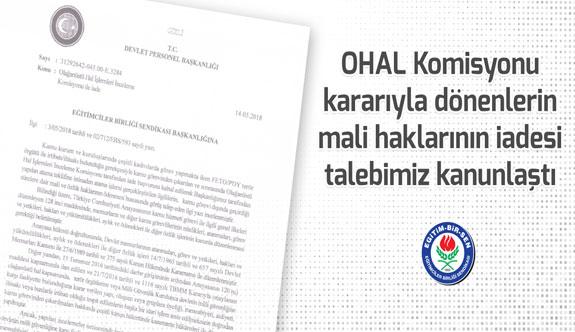 Eğitim-Bir-Sen'in OHAL Komisyonu kararıyla dönenlerin mali haklarının iadesi talebi kanunlaştı