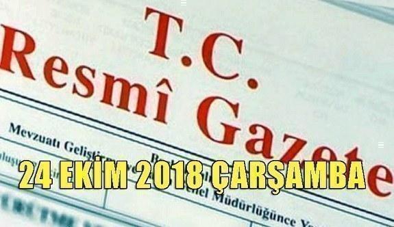24 Ekim 2018 Çarşamba Tarihli TC Resmi Gazete Kararları