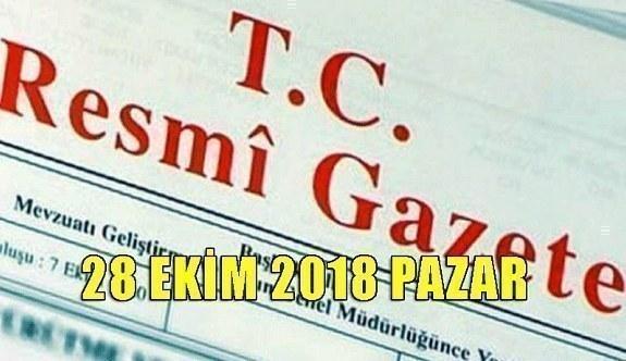 28 Ekim 2018 Pazar Tarihli TC Resmi Gazete Kararları