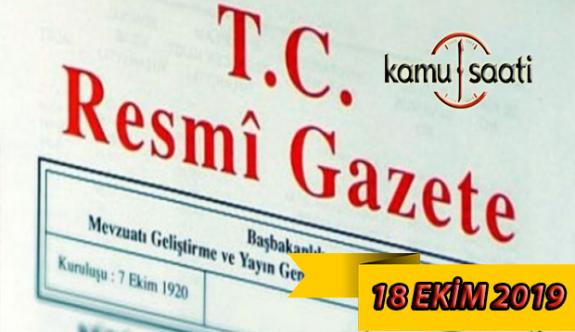 19 Ekim 2019 Cuma Tarihli TC Resmi Gazete Kararları