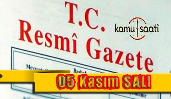 05 Kasım 2019 Salı Tarihli TC Resmi Gazete Kararları