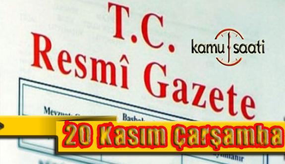 20 Kasım 2019 ÇarşambaTarihli TC Resmi Gazete Kararları