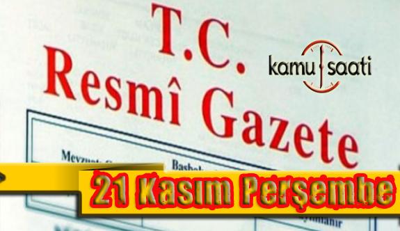 21 Kasım 2019 Perşembe Tarihli TC Resmi Gazete Kararları