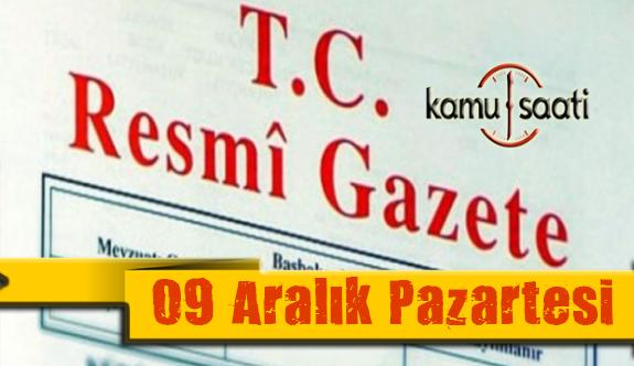 09 Aralık 2019 Pazartesi Tarihli TC Resmi Gazete Kararları