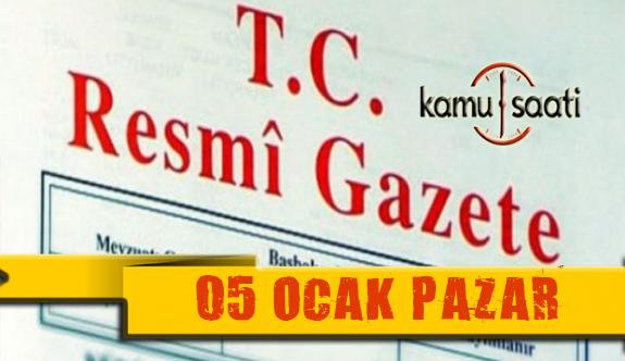 05 Ocak 2020 Pazar TC Resmi Gazete Kararları