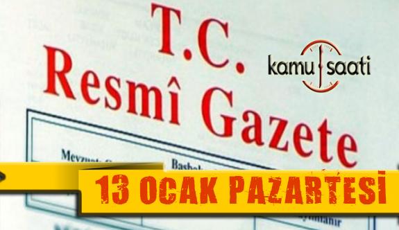 13 Ocak 2020 Pazartesi TC Resmi Gazete Kararları