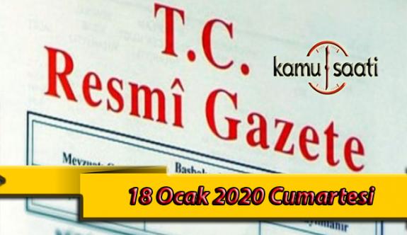 18 Ocak 2020 Cumartesi TC Resmi Gazete Kararları