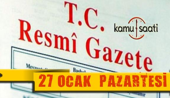 27 Ocak 2020 Pazartesi TC Resmi Gazete Kararları