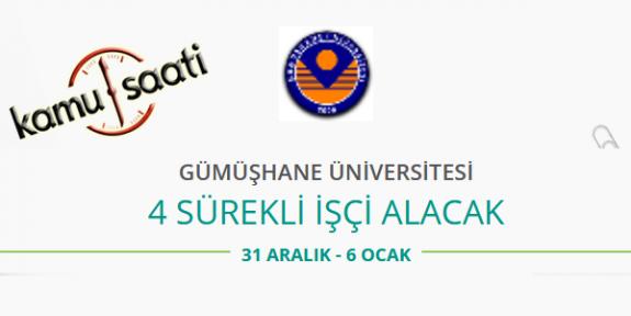 Gümüşhane Üniversitesi 4 İşçi Personel Alımı 2020
