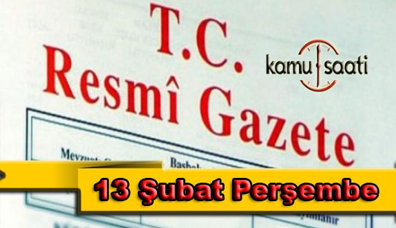 13 Şubat 2020 Perşembe TC Resmi Gazete Kararları