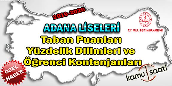 2020 LGS Adana Liseleri Taban Puanları Yüzdelik Dilimleri ve Öğrenci Kontenjanları LGS-MEB