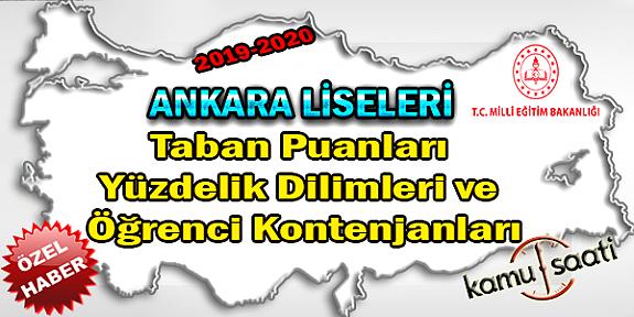 2020 LGS Ankara Liseleri Taban Puanları Yüzdelik Dilimleri ve Öğrenci Kontenjanları LGS-MEB