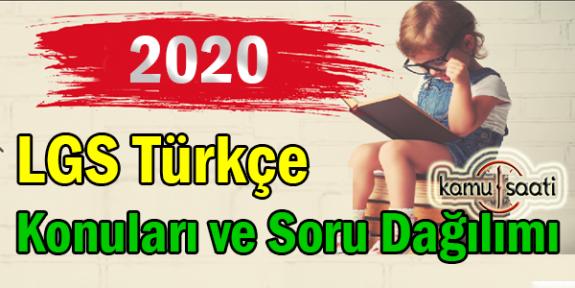 2020 LGS Türkçe Konuları ve Soru Dağılımı