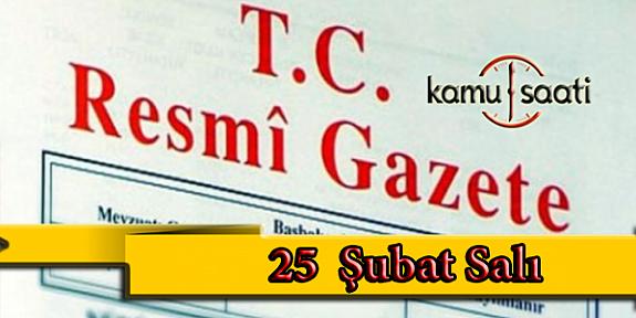25 Şubat 2020 Salı TC Resmi Gazete Kararları