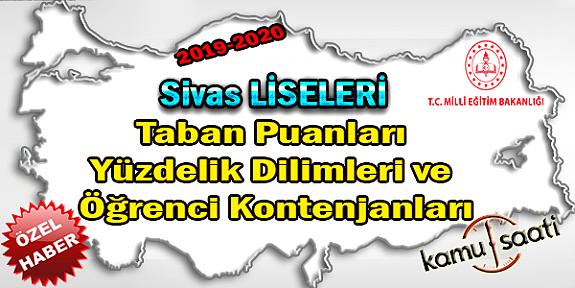 LGS Sivas Liseleri Taban Puanları Yüzdelik Dilimleri Öğrenci Kontenjanları 2018 - 2019 - 2020