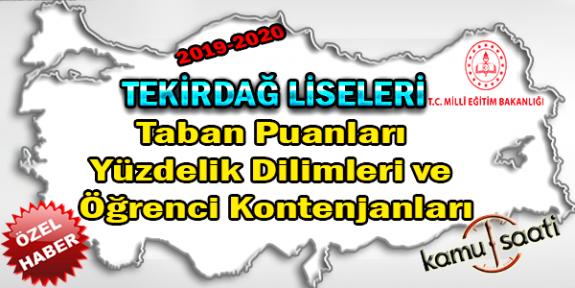 LGS Tekirdağ Liseleri Taban Puanları Yüzdelik Dilimleri Öğrenci Kontenjanları 2018 - 2019 - 2020