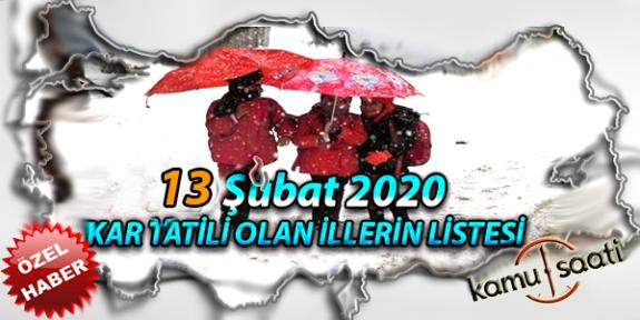 Yarın Okullar Tatil mi? 13 Şubat 2020 Perşembe Kar Tatili olan İller