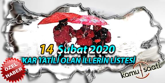 Yarın Okullar Tatil mi? 14 Şubat 2020 Cuma Kar Tatili olan İller