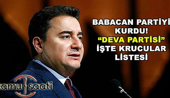 Ali Babacan'ın partisindeki isimler belli oldu