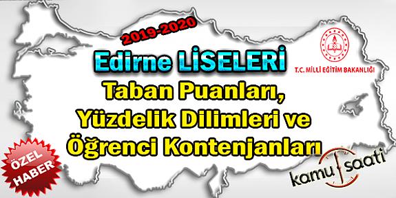 LGS Edirne Liseleri Taban Puanları Yüzdelik Dilimleri Öğrenci Kontenjanları 2018 - 2019 - 2020