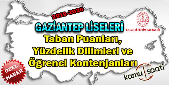 LGS Gaziantep Liseleri Taban Puanları Yüzdelik Dilimleri ve Öğrenci Kontenjanları 2018-2019-2020