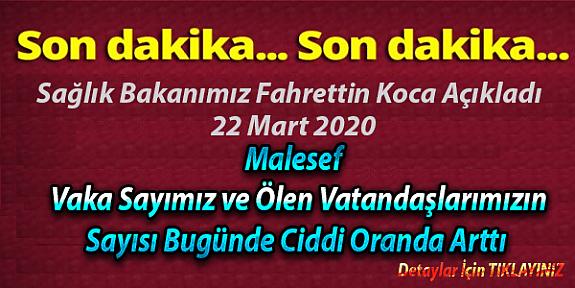 Sağlık bakanı Dr.Fahrettin Koca resmi twitter hesabı son dakika korona virüsü açıklaması 22 Mart 2020
