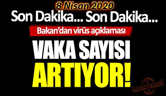 Korona Virüs vaka sayıları ve ölüm sayıları Türkiye 08 Nisan Çarşamba 2020