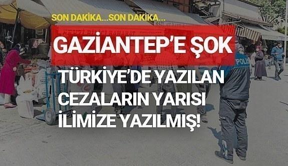 Türkiye'de yazılan cezaların toplamının yarısı Gaziantep ilimize yazılmış!