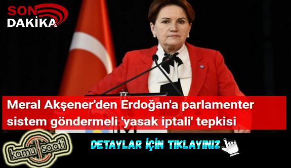 Meral Akşener'den Erdoğan'a parlamenter sistem göndermeli 'yasak iptali' tepkisi