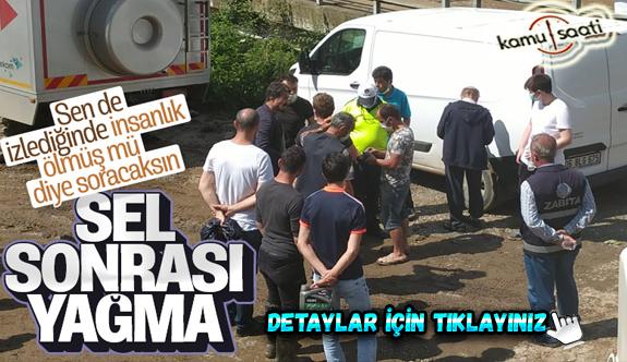 Giresun'daki sel sonrası bir çuval fındığı almaya çalışan iki kişi gözaltına alındı