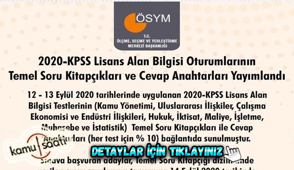 2020 KPSS lisans soru ve cevapları Ösym tarafından yayınladı