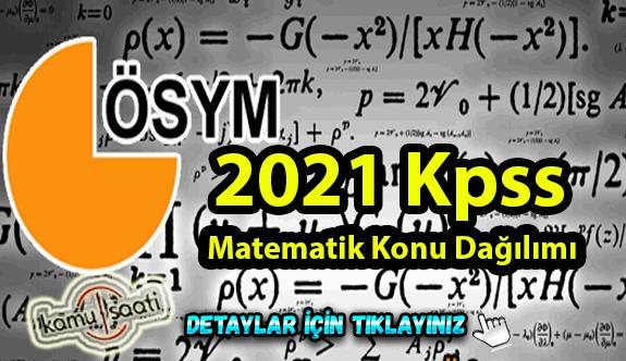2021 KPSS Matematik konu dağılımı