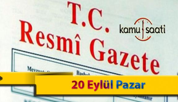 20 Eylül Pazar Resmi Gazete Kararları