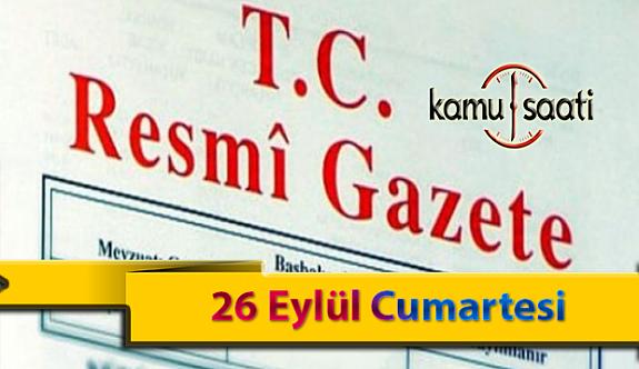 26 Eylül Cumartesi Resmi Gazete Kararları