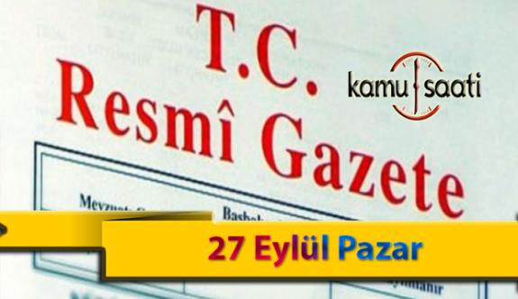 27 Eylül Pazar Resmi Gazete Kararları