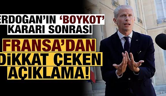 Erdoğan'ın 'boykot' çağrısı sonrası Fransa'dan açıklama