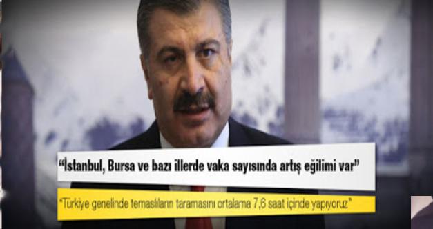 Sağlık Bakanı Koca: Son bir haftada İstanbul, Bursa ve bazı illerde vaka sayısında artış eğilimi var