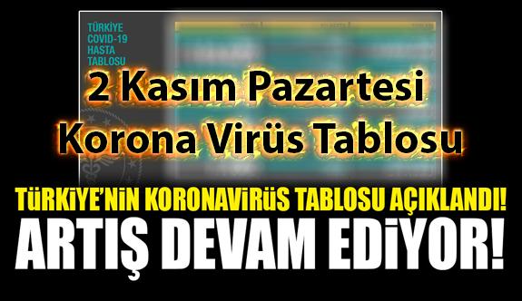 2 Kasım Pazartesi Korona virüs tablosu bugün vaka sayısı kaç? İşte bugünki Korona virüs Tablosu