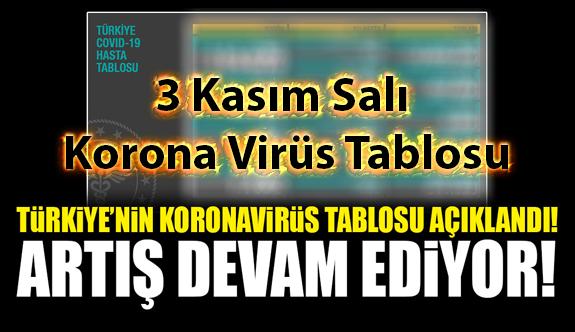 3 Kasım Salı Korona virüs tablosu bugün vaka sayısı kaç? İşte bugünki Korona virüs Tablosu