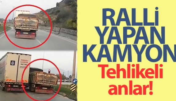 Bursa'da ralli yapan kamyon kameralara yansıdı