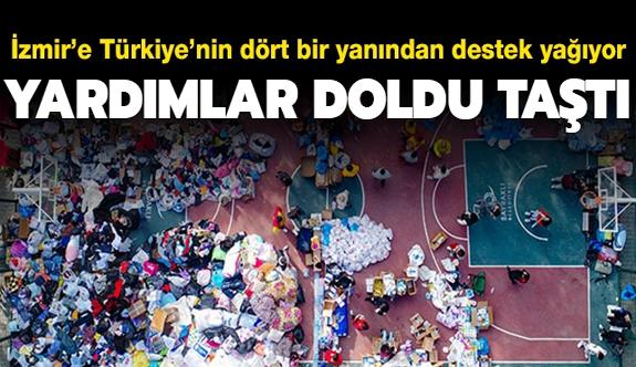 İzmir'e gönderilen yardımlar doldu taştı